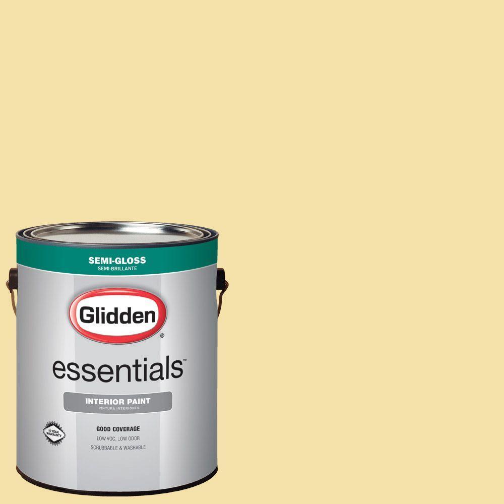 Glidden Essentials 1 gal. #HDGY16D Summer Cottage Yellow Semi-Gloss ...