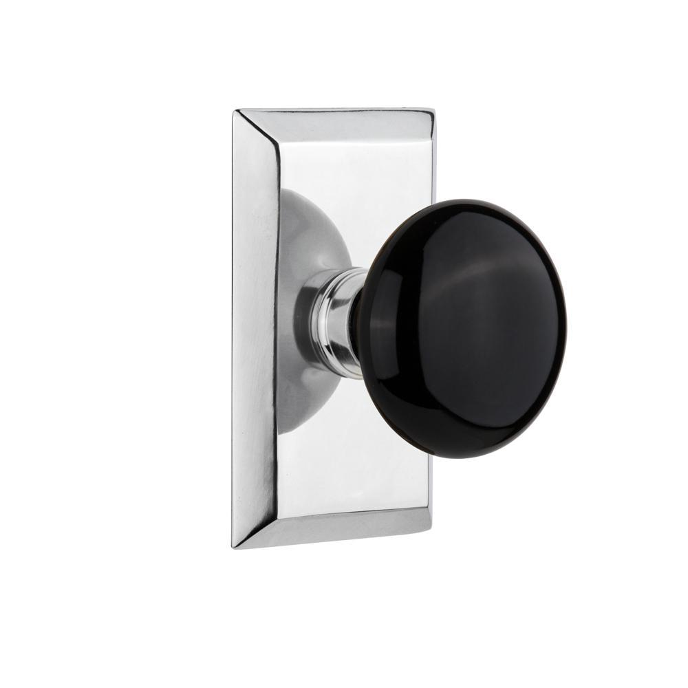 Studio Plate Single Dummy Black Porcelain Door Knob in Bright Chrome