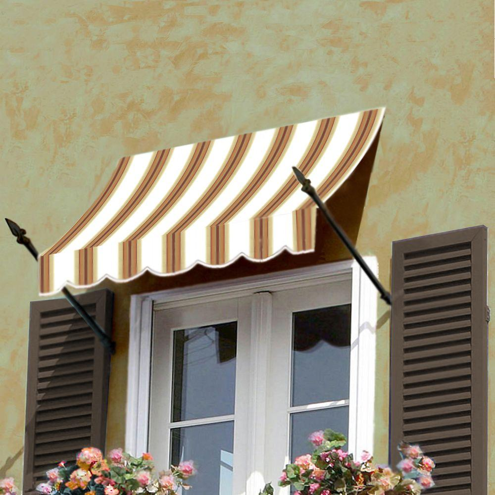 AWNTECH 8 ft. New Orleans Awning (56 in. H x 32 in. D) in Yellow / White Stripe