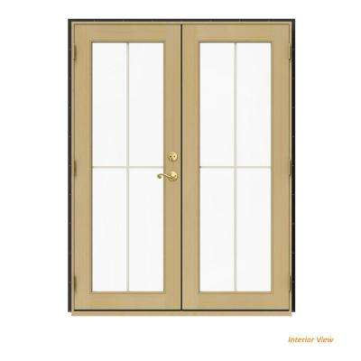 60 in. x 80 in. W-2500 Bronze Clad Wood Right-Hand 4 Lite French Patio Door w/Unfinished Interior