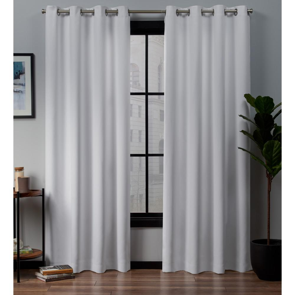 Exclusive Home Curtains Academy 52 in. W x 96 in. L Woven Blackout Grommet Top Curtain Panel in White (2 Panels)