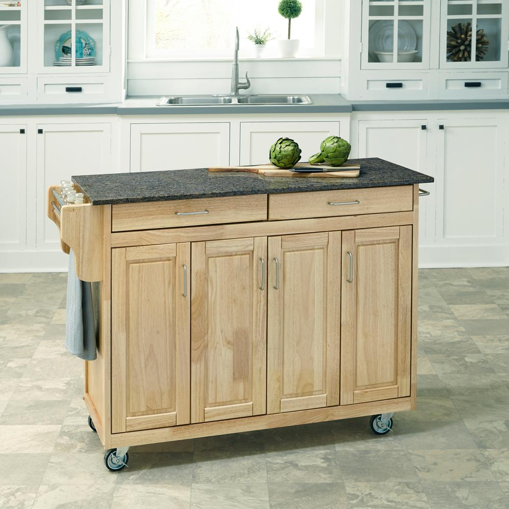 Home Styles Create A Cart Natural Kitchen Cart With Quartz