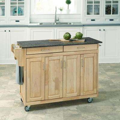 Create-a-Cart Natural Kitchen Cart With Quartz Top