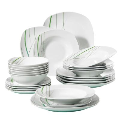 Aviva 24-Piece White with Green Stripe Porcelain Plates and Bowls Set Dish Dinnerware Set (Service for 6)