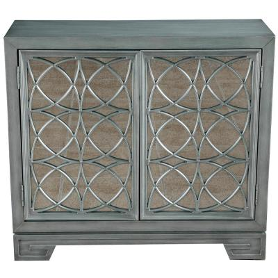 Modern Style Hand Burnished Silver with Blue Undertone 2-Door Accent Bar Cabinet