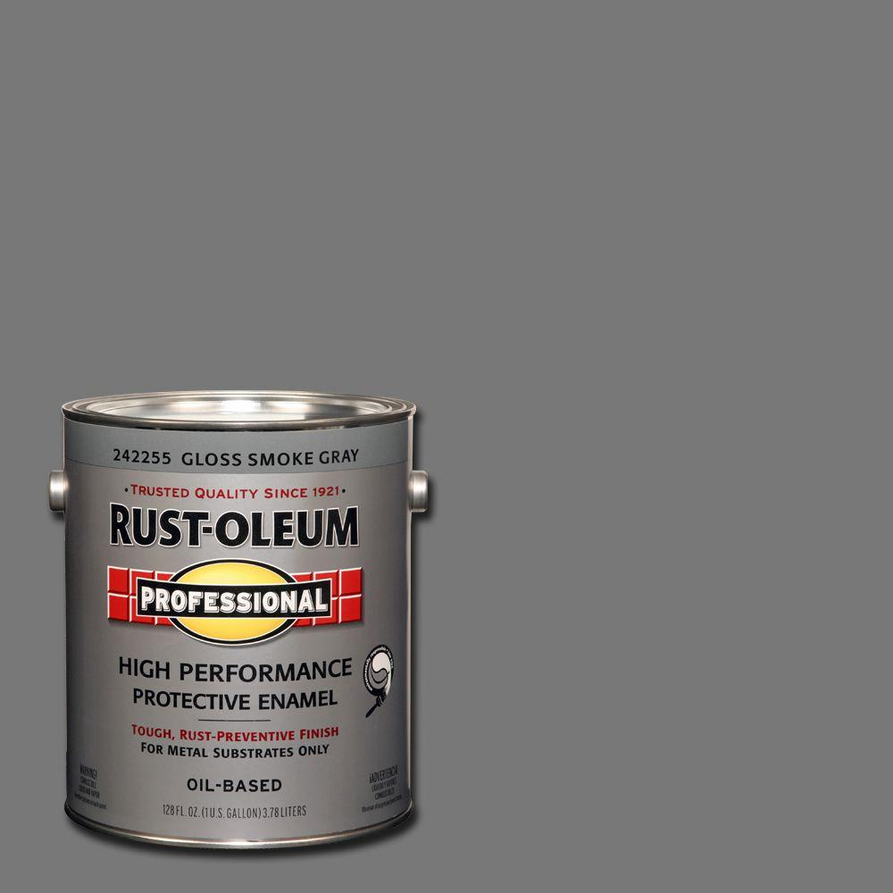 Rust-Oleum Professional 1 gal. High Performance Protective Enamel Gloss Smoke Gray Oil-Based Interior/Exterior Metal Paint (2-Pack)