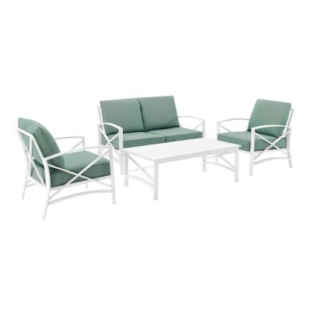 Kaplan White 4-Piece Metal Patio Conversation Set with Mist Cushions