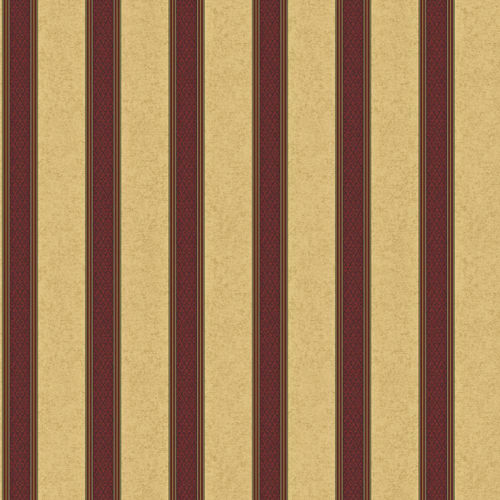 The Wallpaper Company 56 sq. ft. Purple Jewel Tone Damask Harlequin Stripe Wallpaper