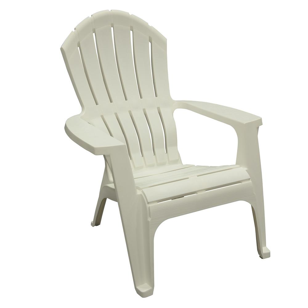 Adams Manufacturing RealComfort White Resin Plastic Adirondack Chair