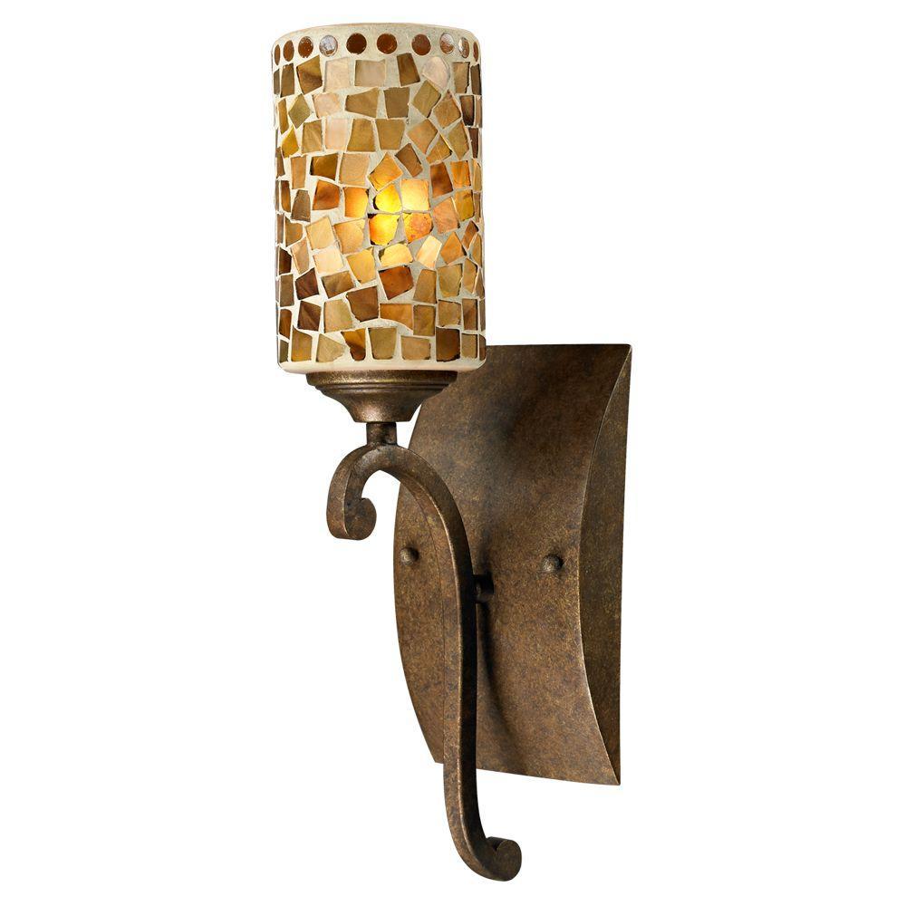 Springdale Lighting Knighton 1 Light Antique Golden Bronze Sconce With Mosaic Art Glass STW13015