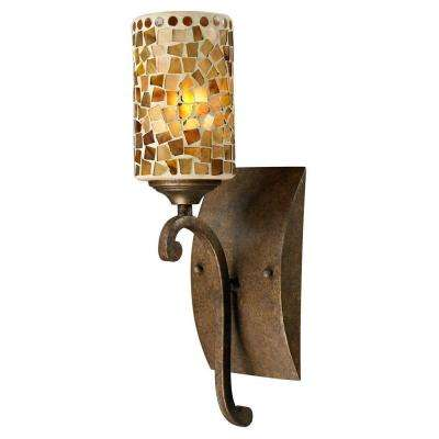 Knighton 1-Light Antique Golden Bronze Sconce with Mosaic Art Glass