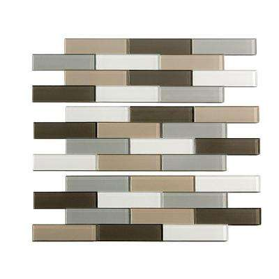 Subway Matted 4 in. x 12 in. Glass Decorative Tile Backsplash in Rustic Clay (3-Pack)