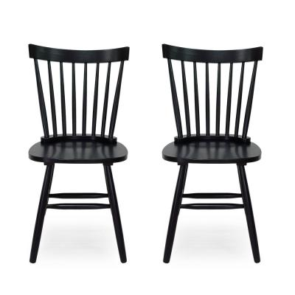 Balcomb Black Wood Dining Chair (Set of 2)