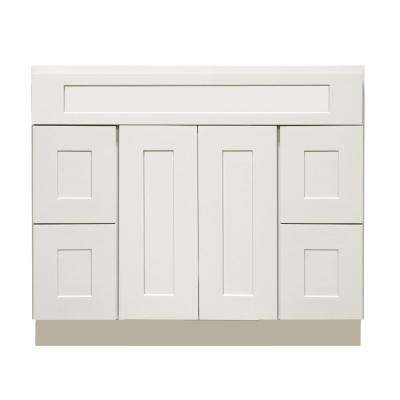 Ready to Assemble Shaker 48 in. W x 21 in. D x 34.5 in. H Vanity Cabinet with 2 Doors and 4 Drawers in White