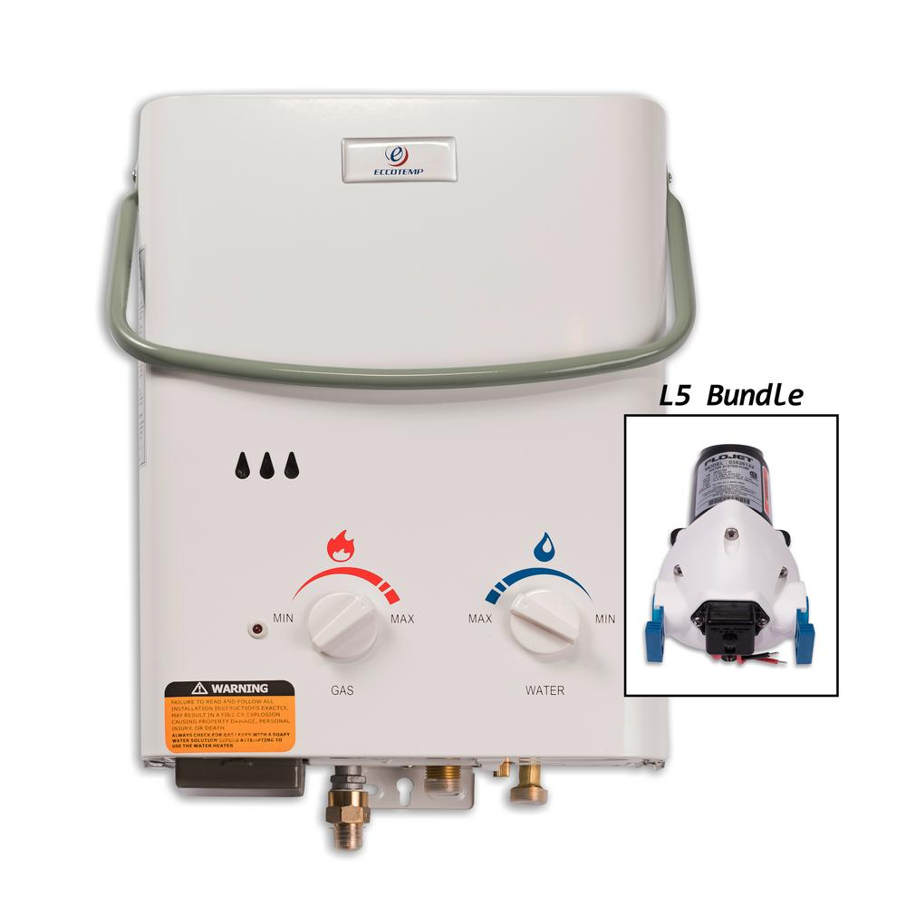 Eccotemp L5 1.5 GPM Portable Gas Tankless Water Heater with Flojet Pump