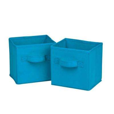 4.9 Qt. Mini Non-Woven Foldable Cube Bin in Aqua (6-Pack)