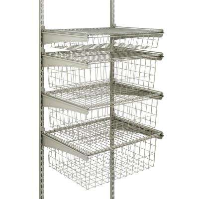 17 in. D x 21 in. W x 27 in. H ShelfTrack 4-Drawer Kit Steel Closet System in Nickel