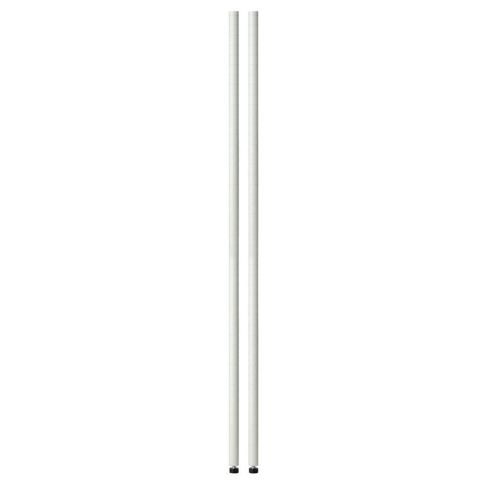 White 48 in. Pole with Leg Levelers (2-Pack)