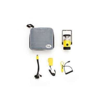 Heli 4400 Home and Car Kit AC Wall Adapter/10-in-1/DC Car Charger LED Rechargeable Lantern in Yellow