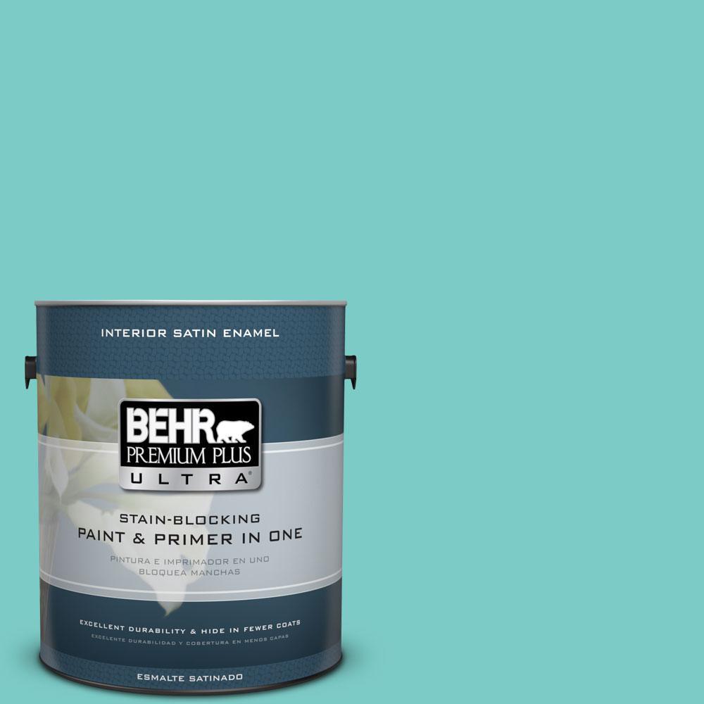 1-gal. #BIC-39 Blue Green Gem Satin Enamel Interior Paint