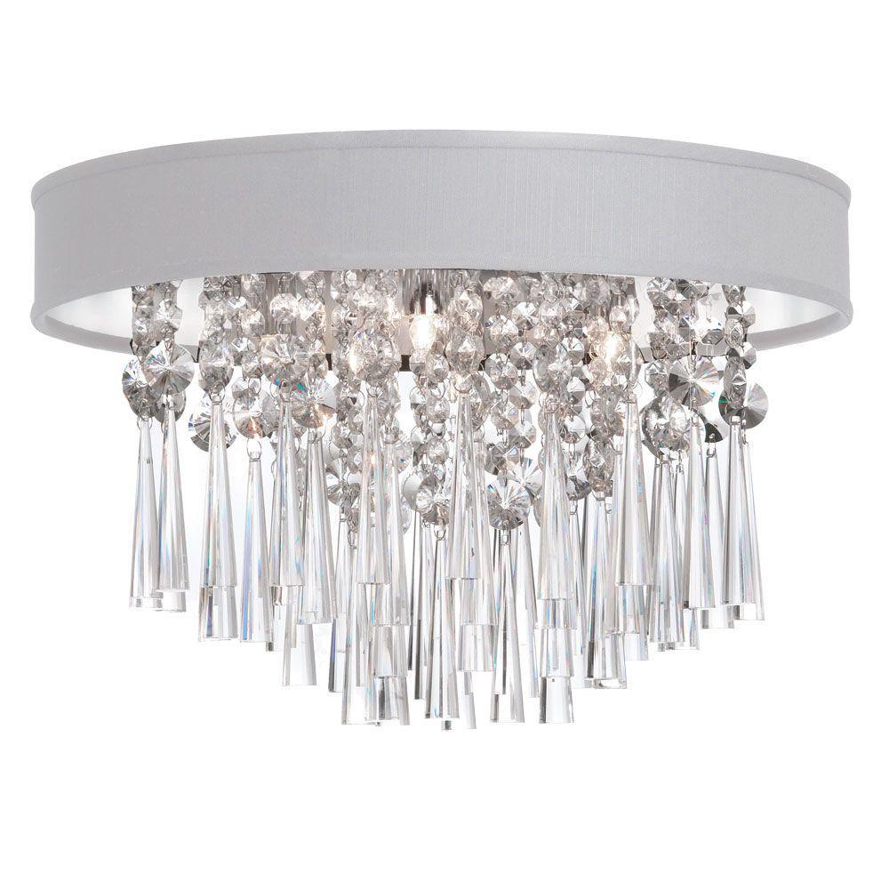 Josephine 4-Light Polished Chrome Crystal Flushmount with White Baroness Micro