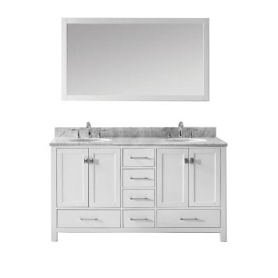 Caroline Avenue 60 in. W Bath Vanity in White with Marble Vanity Top in White with Round Basin and Mirror