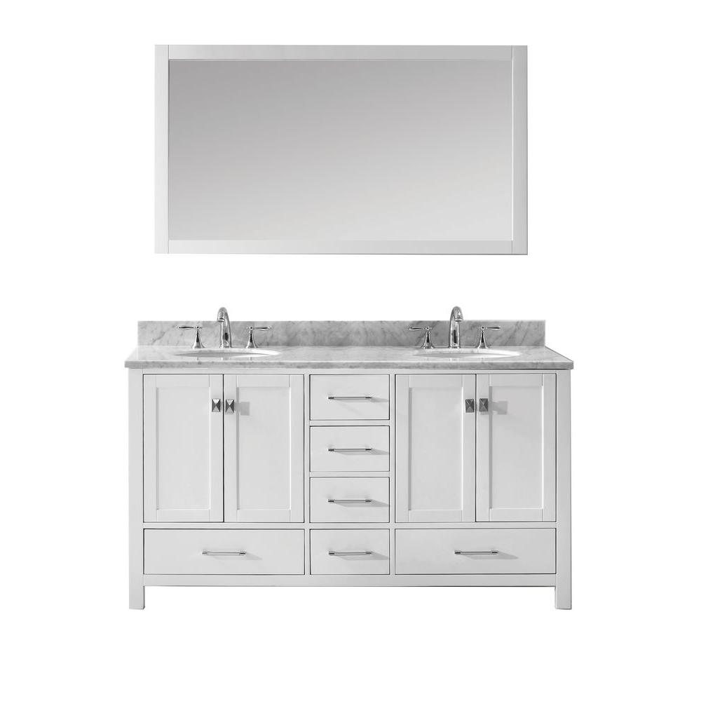 Virtu USA Caroline Avenue 60 In. W X 36 In. H Vanity With Marble