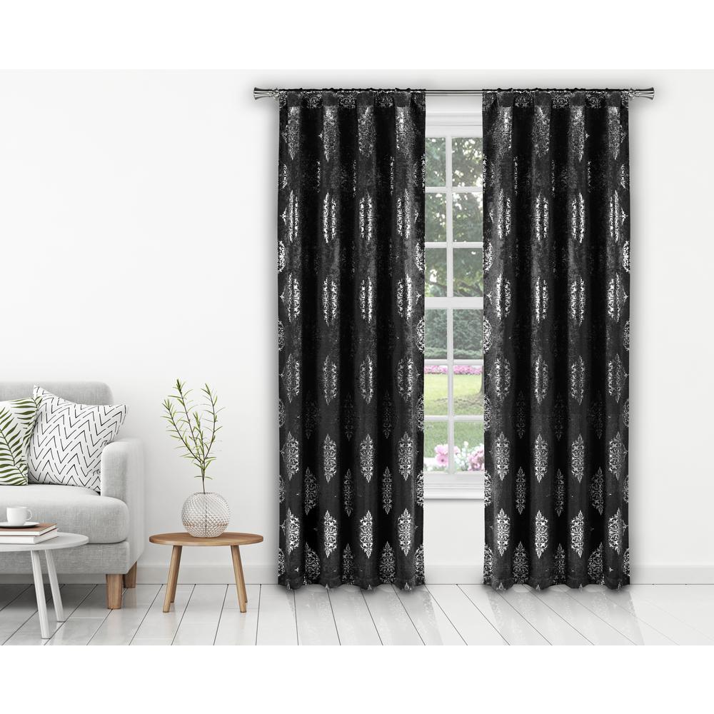 Nash 37 in. W x 84 in. L Polyester Window Panel in Black