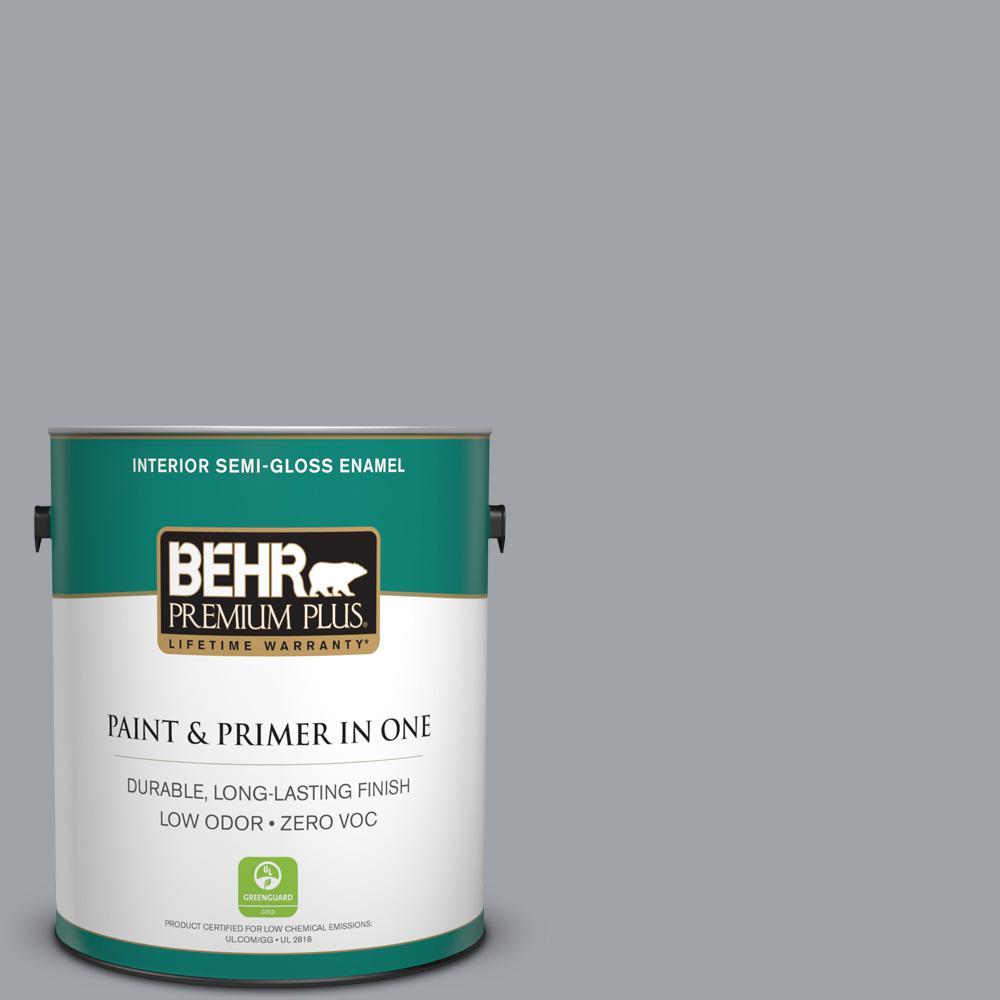 BEHR Premium Plus 1-gal. #N530-4 Power Gray Semi-Gloss Enamel Interior Paint