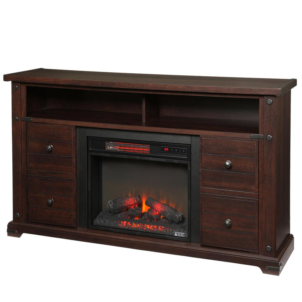 Home Decorators Collection Brannen 60 In Freestanding Media Console Electric Fireplace Tv Stand