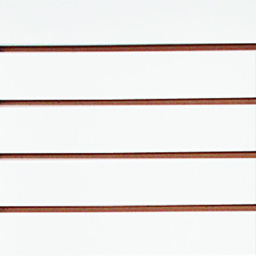 Slatwall White 3 IN OC Panel (Common: 3/4 in. x 48 in. x 8 ft.; Actual: .75 in. x 48 in. x 96 in. 3 in.)