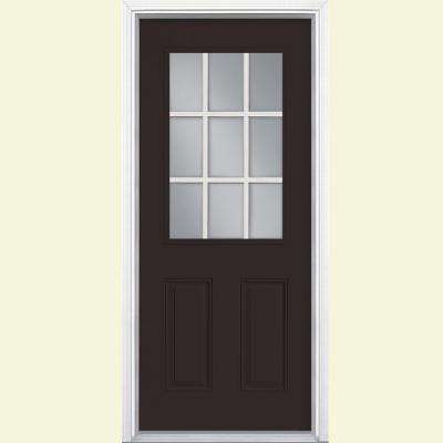 32 in. x 80 in. 9 Lite Left Hand Inswing Painted Steel Prehung Front Door with Brickmold