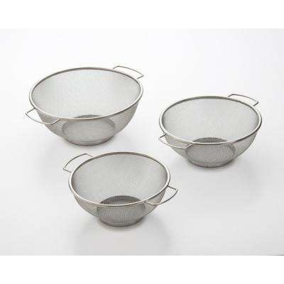 Stainless Steel Fine Mesh Colander with Resting Base (Set of 3)