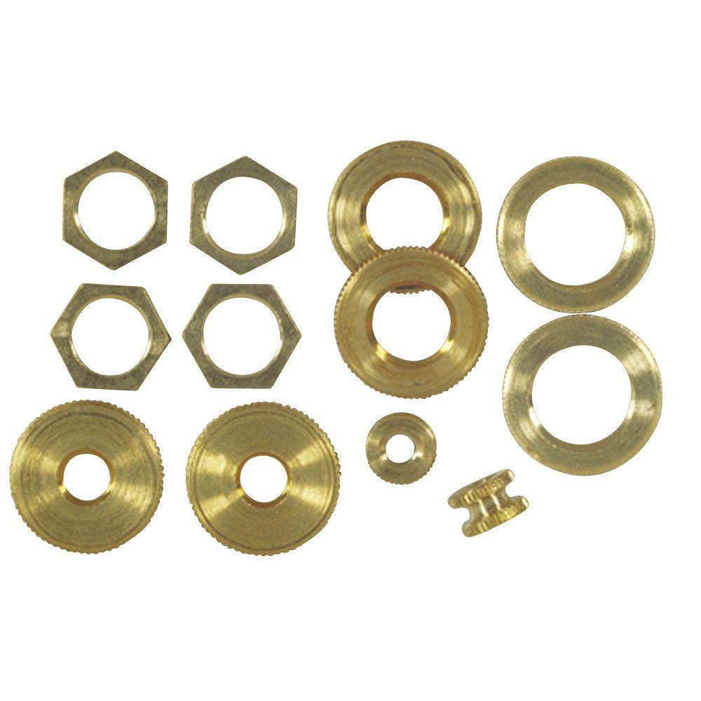 Assorted Solid Brass Locknuts (12-Piece)