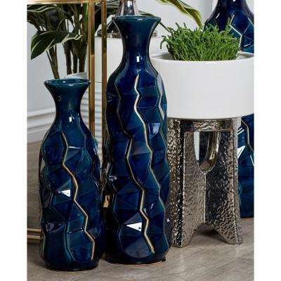 21 in. Navy Blue Ceramic Decorative Vase