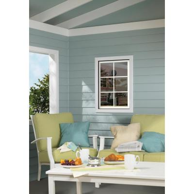 28 in. x 36 in. W-2500 Series White Painted Clad Wood Left-Handed Casement Window with Colonial Grids/Grilles