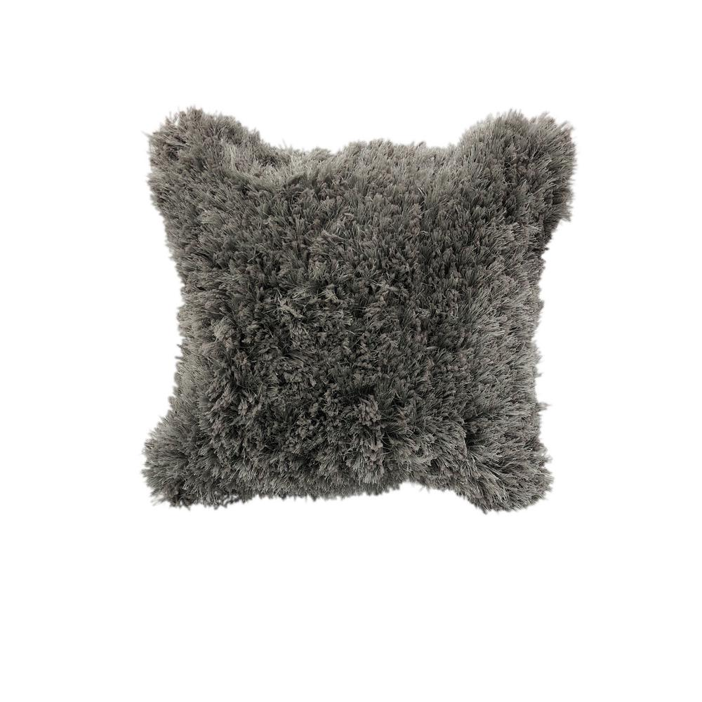 Lr Home Quinto Gray Shag Solid Fluffy Poly Fill 18 In X 18 In Throw Pillow Pillo05330sgriipl The Home Depot