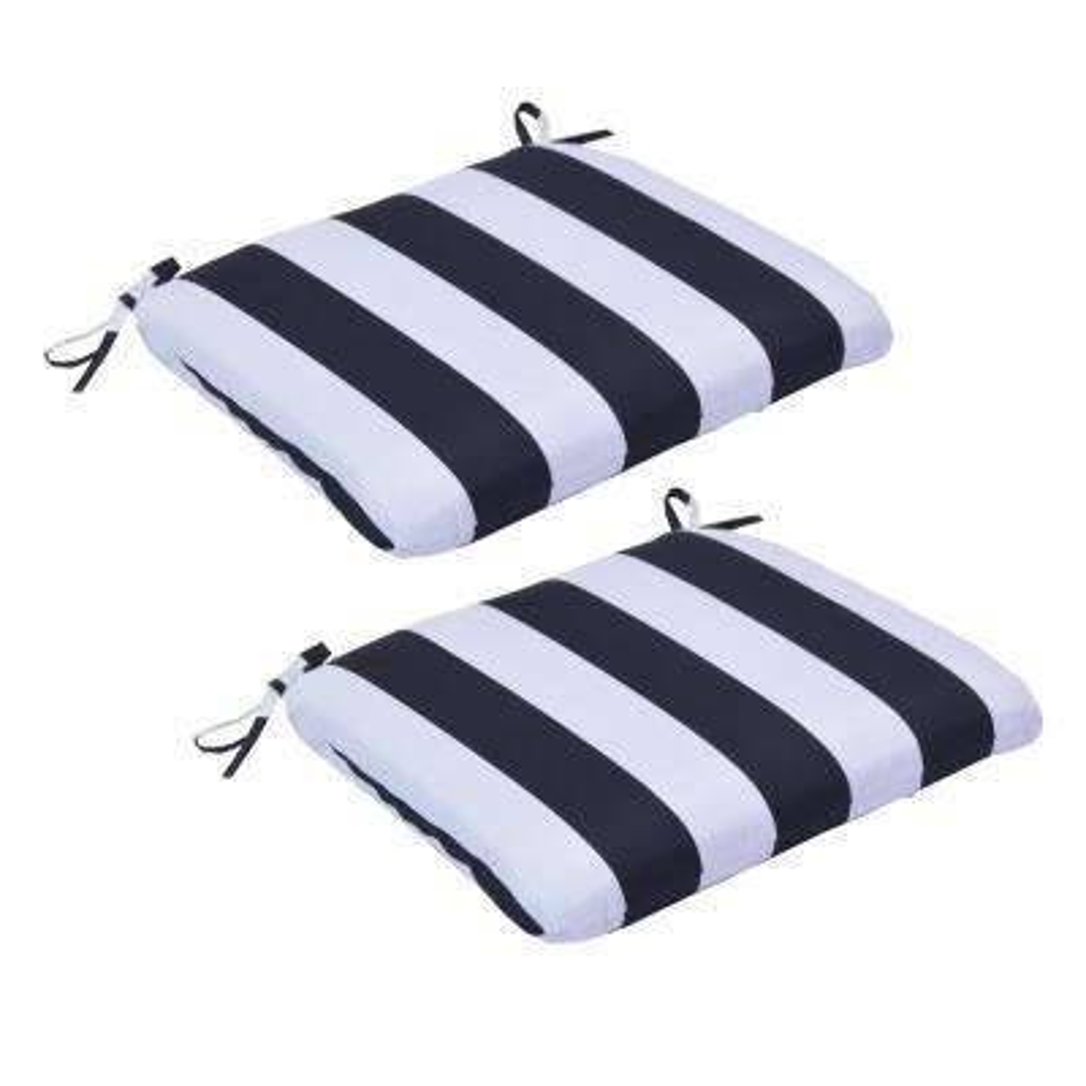 Black Cabana Stripe Trapezoid Outdoor Seat Cushion (2-Pack)