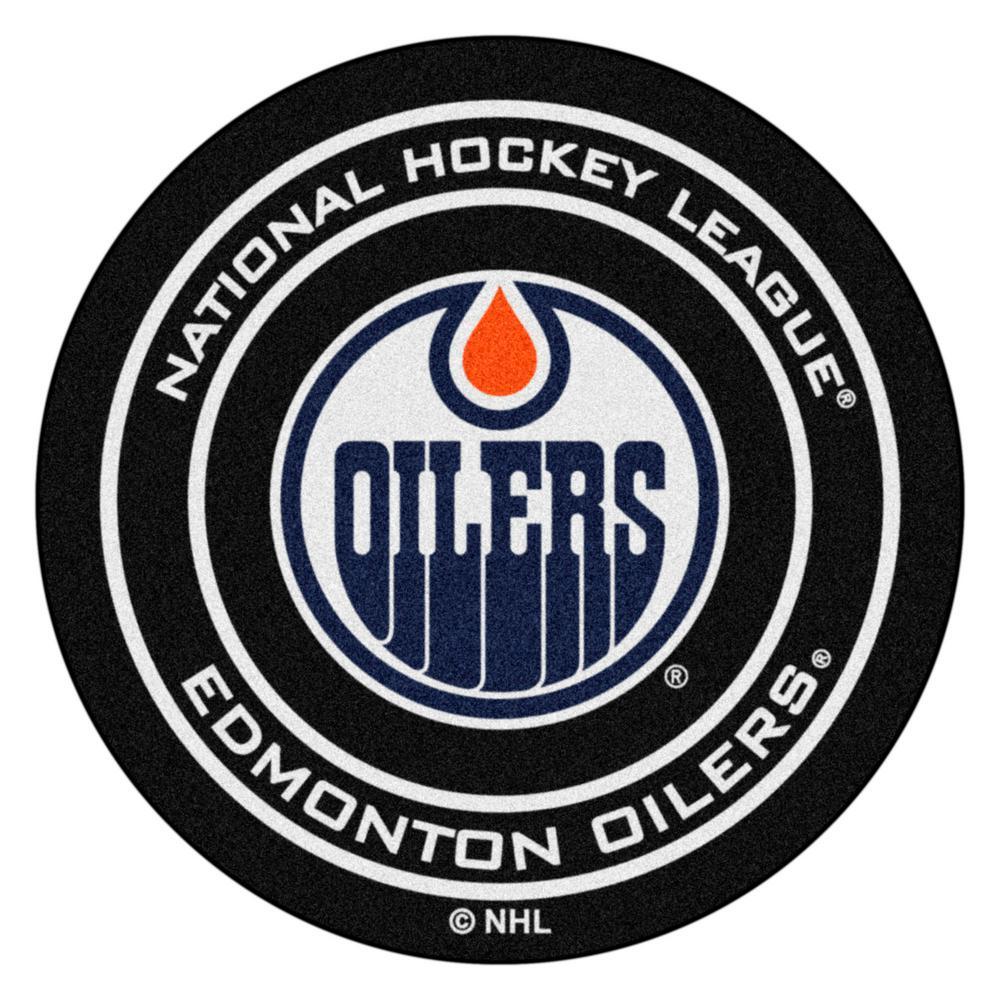 Edmonton Oilers Black 27 in. Round Hockey Puck Mat