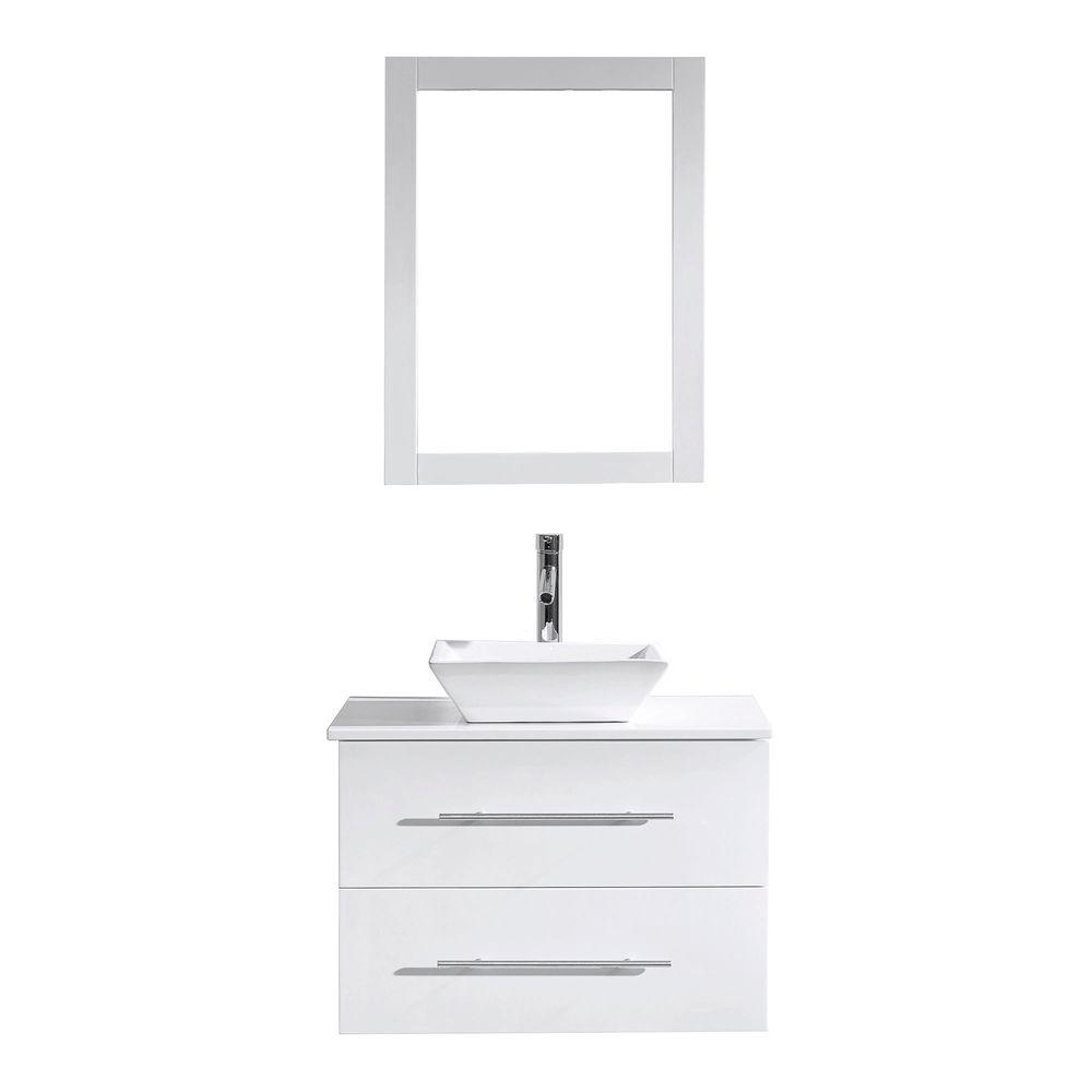 Virtu USA Marsala 30 in. W Bath Vanity in White with Stone Vanity Top in White with Square Basin and Mirror and Faucet