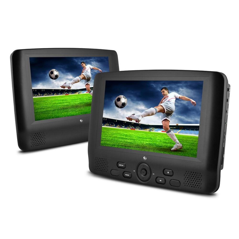 EMATIC 9 in. Dual Screen Portable DVD Player