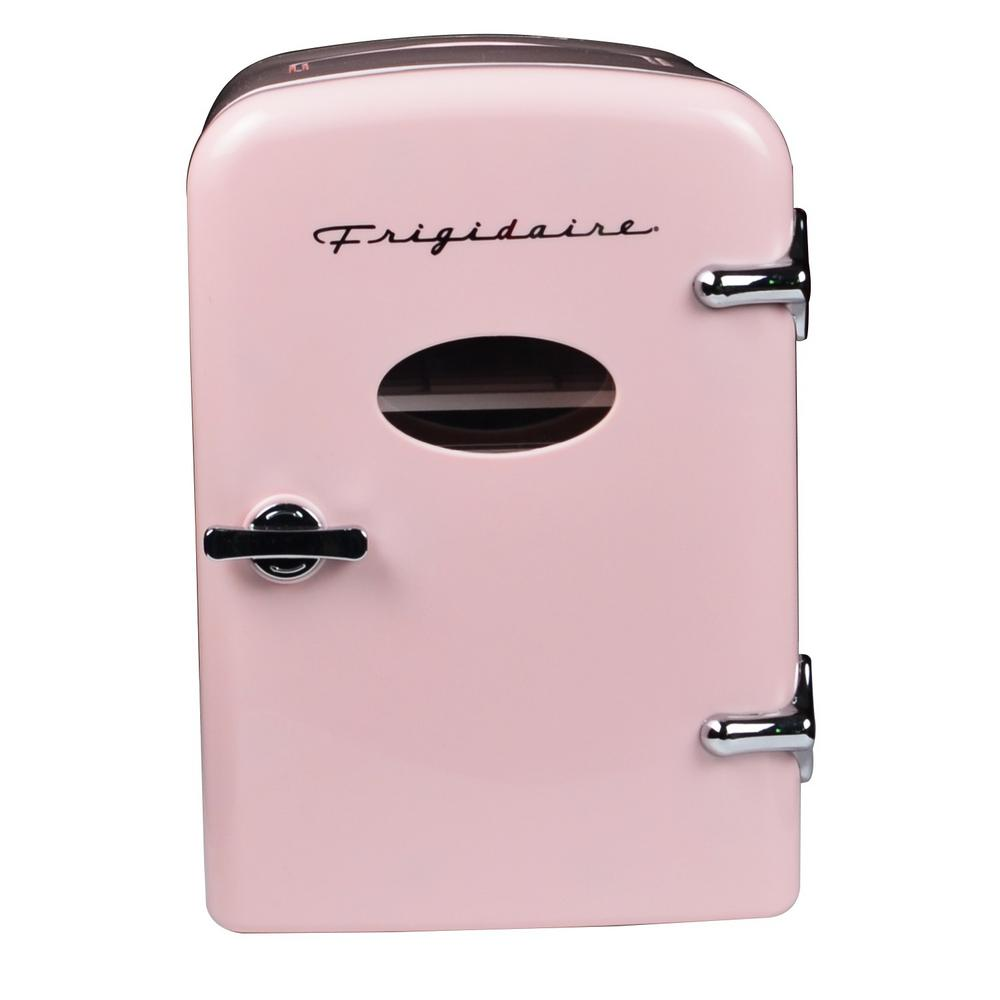 Frigidaire 0 3 Cu Ft 6 Can Retro Mini Fridge In Pink Efmis129 Pink The Home Depot