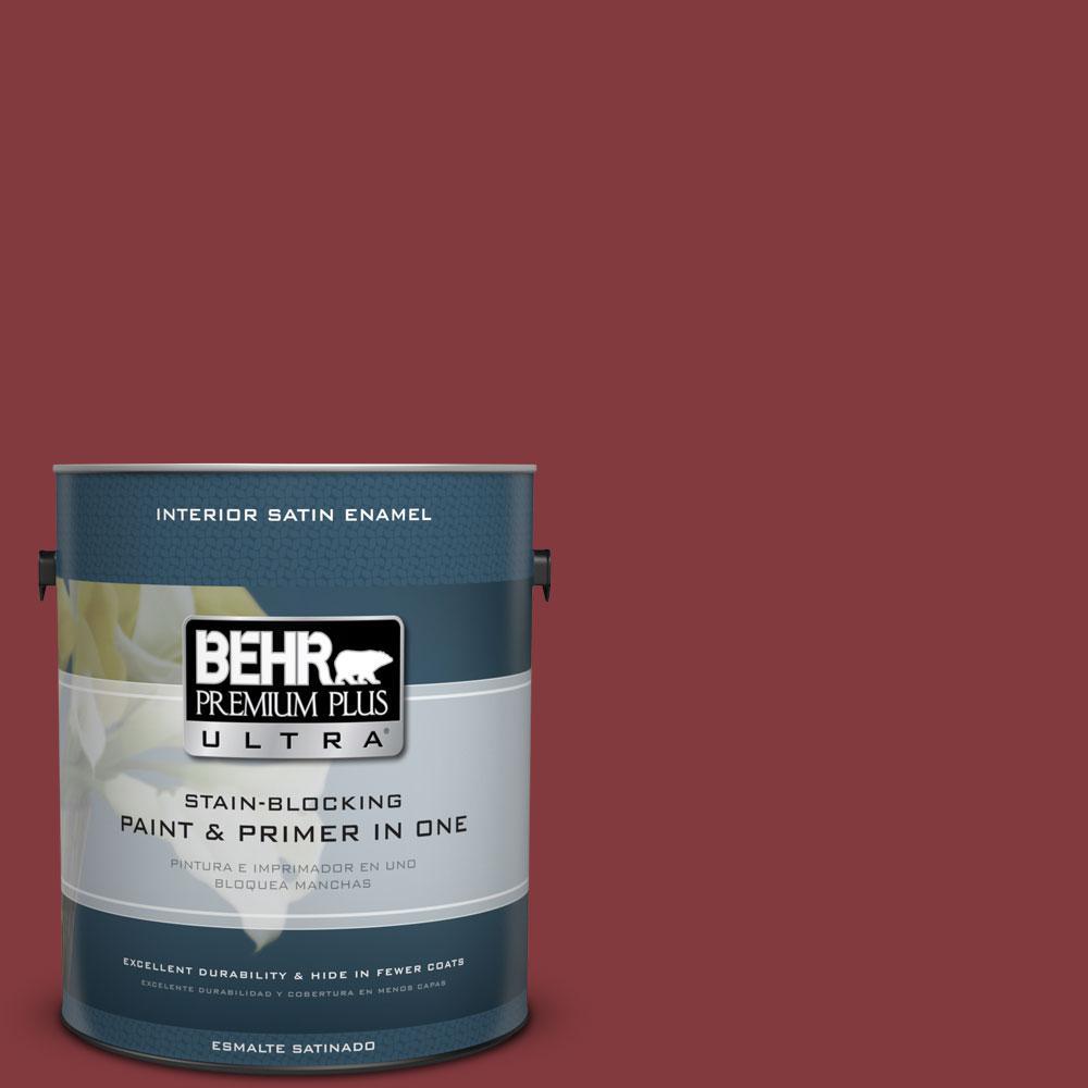 BEHR Premium Plus Ultra 1-gal. #S-H-130 Red Red Wine Satin Enamel Interior Paint