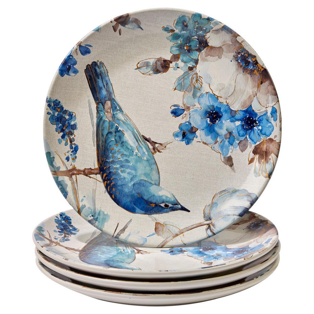 Indigold Bird 11 in. Blue/White Dinner Plate (Set of 4)