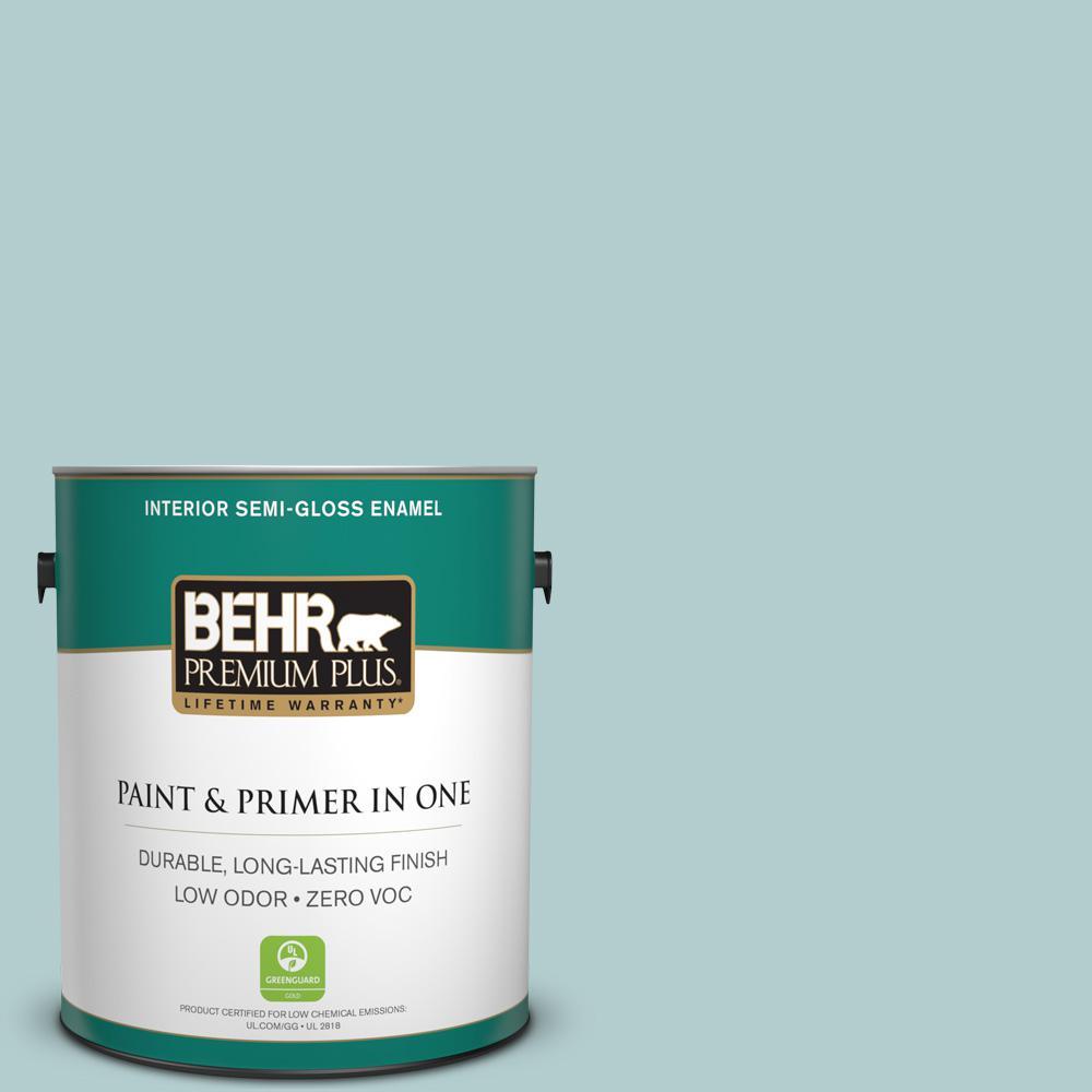1 gal. #PPU13-15 Clear Pond Zero VOC Semi-Gloss Enamel Interior Paint