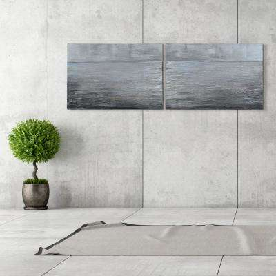 "24 in. x 36 in. ""Silver Light"" - Set of 2 Textured Metallic Hand Painted by Martin Edwards Wall Art"