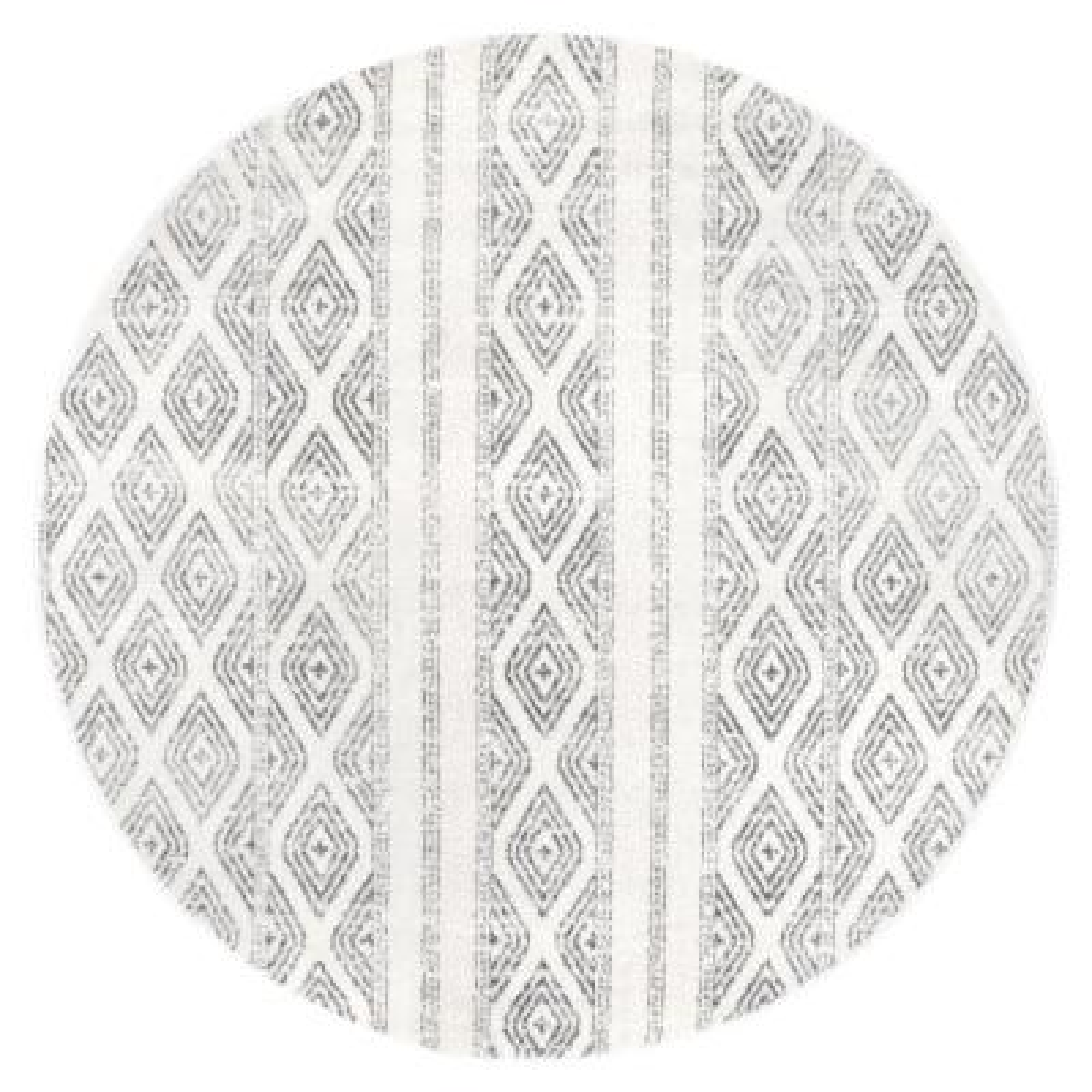 Sarina Tribal Diamond Striped Gray 8 ft. Round Indoor Area Rug
