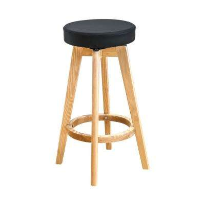 Rex 26 in. Black Natural Wood Modern Counter Stool