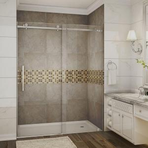 completely frameless sliding shower door in chrome with