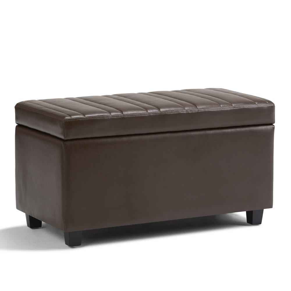 Darcy Chocolate Brown PU Faux Leather Storage Ottoman